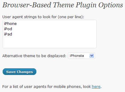 Screenshot of the plugin settings